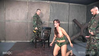 Syren De Mer abused by an army man with a bag over her head