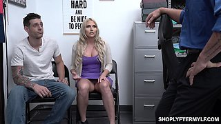 To punish curvy blonde MILF Christie Stevens cop fucks her doggy hard