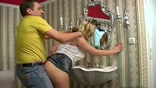 Husband drinks, wife fuck in the toilet