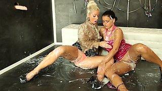 Horny pornstar Candy Blond in best threesome, fetish sex video