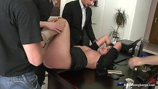 Secretary Take Down:Boss & Friends Tie her up & Fill her Pussy w/ Cum