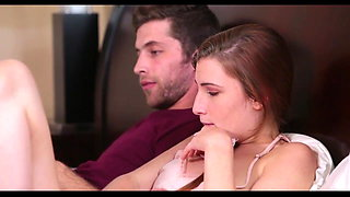 Step brother and sister watch porn together