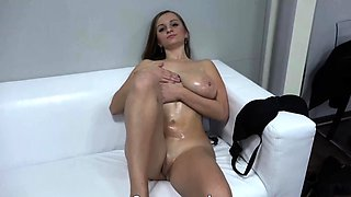 Busty Czech chick first time casting got cum on her tits
