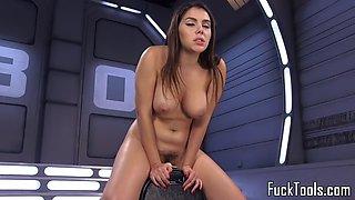 Busty machine beauty enjoys anal play