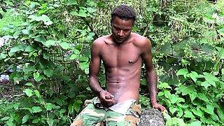 Young gay warrior empties his love gun