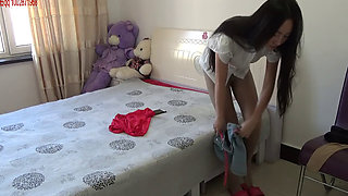 Chinese girl tied up on bed