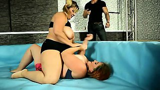 Naked BBW wrestling match goes out of control