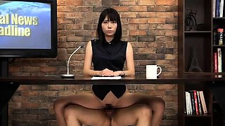 Slutty Japanese news babes are addicted to cock and semen