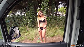 Roadside whore Livia Teen gives a blowjob and gets fucked in public