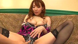Busty Japanese bimbo in stockings banged