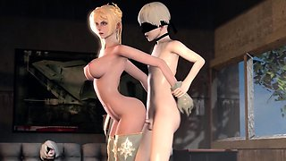 NieR Automata Girls Gets Thumped by a Big Massive Dick