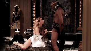 Blonde queen is sucking a big black cock of this dark prince