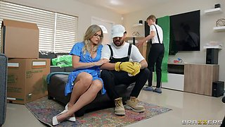 BRAZZERS MILF Cory Chase Wanks off Lucky Mover Man