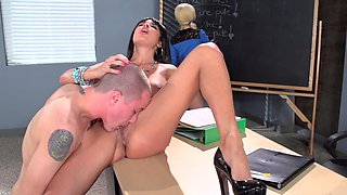Super hot French teacher gets in a threesome with horny students