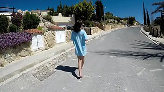 FIRST TIME EVER, outdoor piss in chair, flashing, spanking and fingering