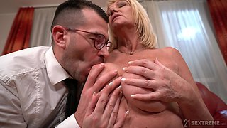 Dirty granny gets her pussy fucked balls deep by a younger man