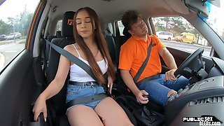 Driving instructor in public Spanish babe riding