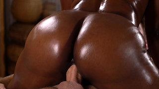 Massage Rooms British temptress slams her big black booty