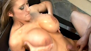 Reverse cowgirl hardcore fucking and cum on blonde's big boobs