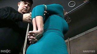 Busty Texas slut Dee Williams gets breast bondage and hardcore masturbation