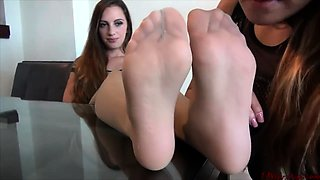 Two sexy lesbian friends explore their foot fetish fantasy