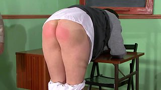 Old fart spanking a big butt schoolgirl slut