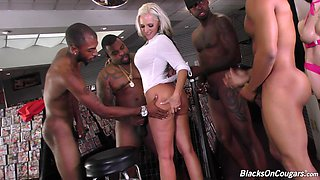 Interracial gangbang session with hot blonde chick Alena Croft