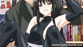 Anime girl gang bang in public