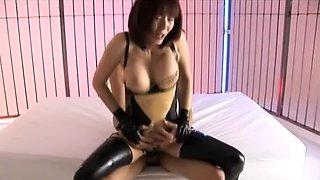 Horny Japanese slut Yuma Asami in Exotic Stockings, Fingering JAV scene