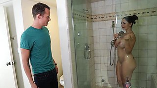 Busty milf enjoys step son in the shower with her