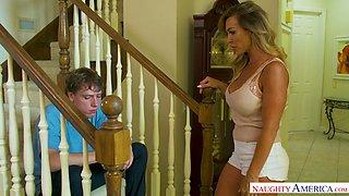Fervent milf Aubrey Black tries to comfort her upset stepson