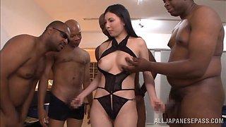 Goddess Brunette Gets Gangbanged By Several Black Dudes