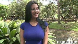We meet Juliana - hot brunette with big natural boobs and long hair