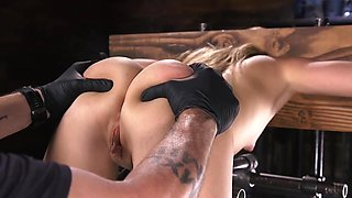 Tormentor can see porn model likes BDSM so man toys pussy