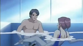 Animated guy owns babe in swimming pool
