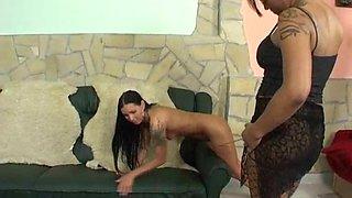 Skinny brunette girl gets her ass punished by a nasty mistress