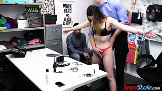 Teen thief punish fucked next to her BF