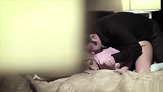 Old pervy dad wakes up the babysitter for a rough fuck