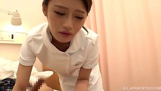 Naughty Japanese nurse pleases a patient by riding his hard dick