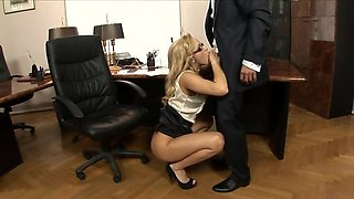 Sexy office lady Aleska Diamond with glasses makes her boss happy