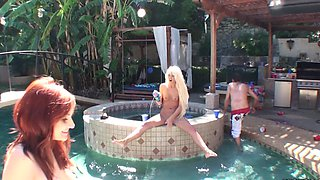 Hot bitches that love cock have a party by the pool outdoors
