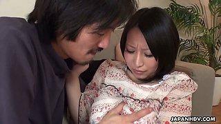 Mega busty Japanese milf Yuna Hoshizaki gives titjob and gets her slit creampied