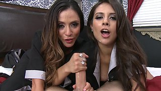 Two gorgeous maids do their oral and vaginal job for the customer