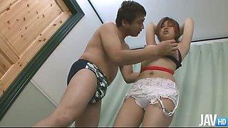 Rika Kurogawa bit titties bound up and her pussy played with