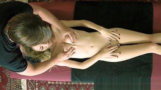 Petite 18yo babe stroking masseurs dick