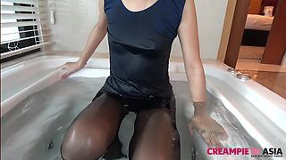 Skinny Asian slut fucked in crotchless pantyhose