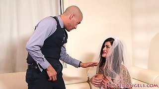 Busty inked bride getting pounded