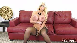Alura Jenson uses her massive tits to make a fellow's big dick hard