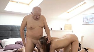 Comely nymph relishes taboo sex with boyfriends old man