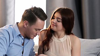 Russian redhead with pierced nipples Renata Fox gets banged